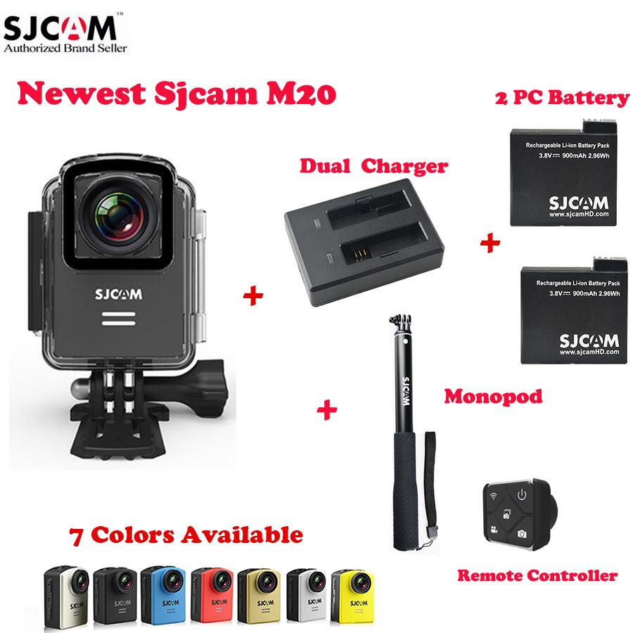 Prix pour D'origine sjcam m20 wifi 4 k 24fps 30 m étanche action sports caméra sj cam dvr + 2 batterie supplémentaire + double chargeur + à distance monopode