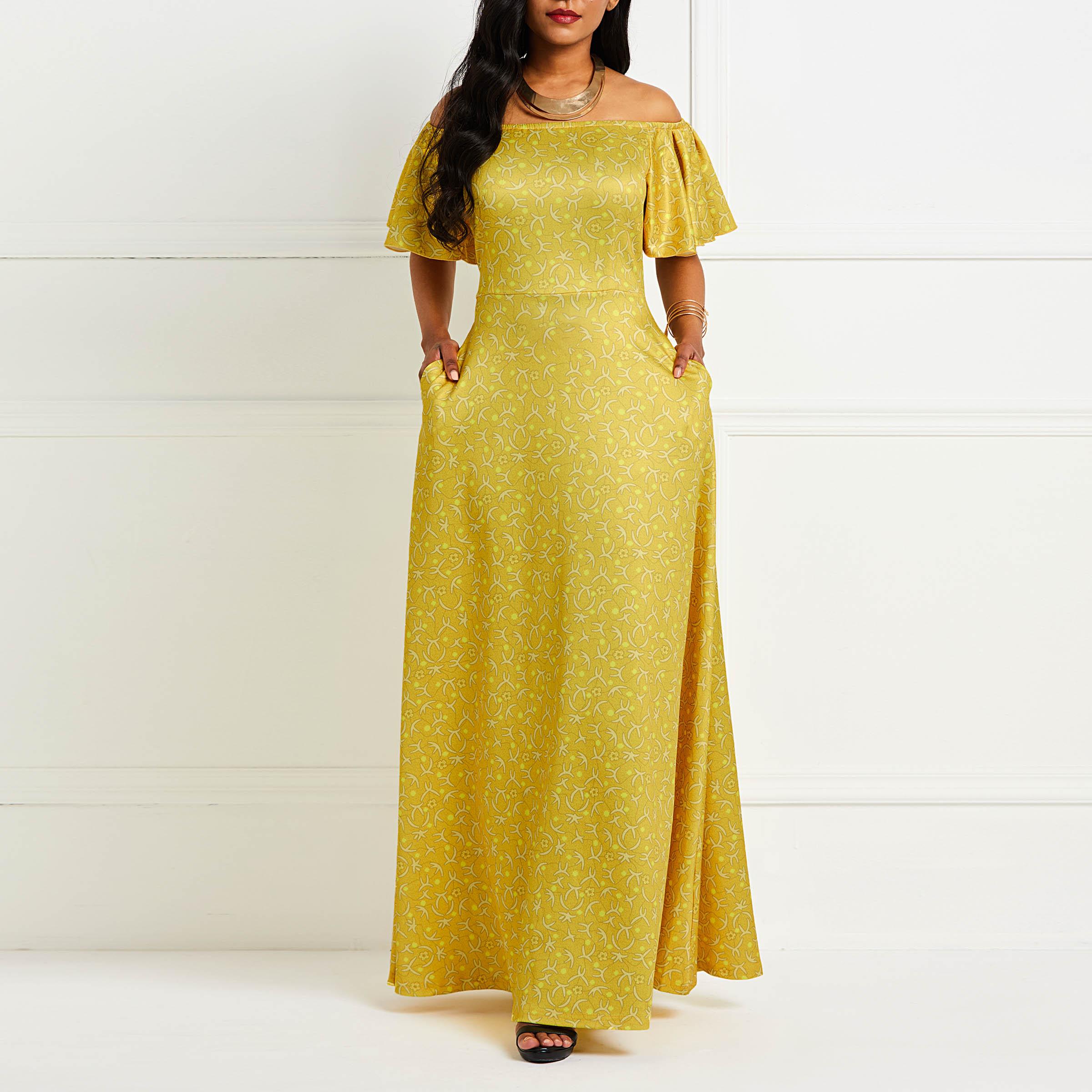 Сексуальный принт длинное платье Для женщин летнее платье с открытыми плечами, вечернее трапециевидной формы 2019 новые с желтыми оборками в...