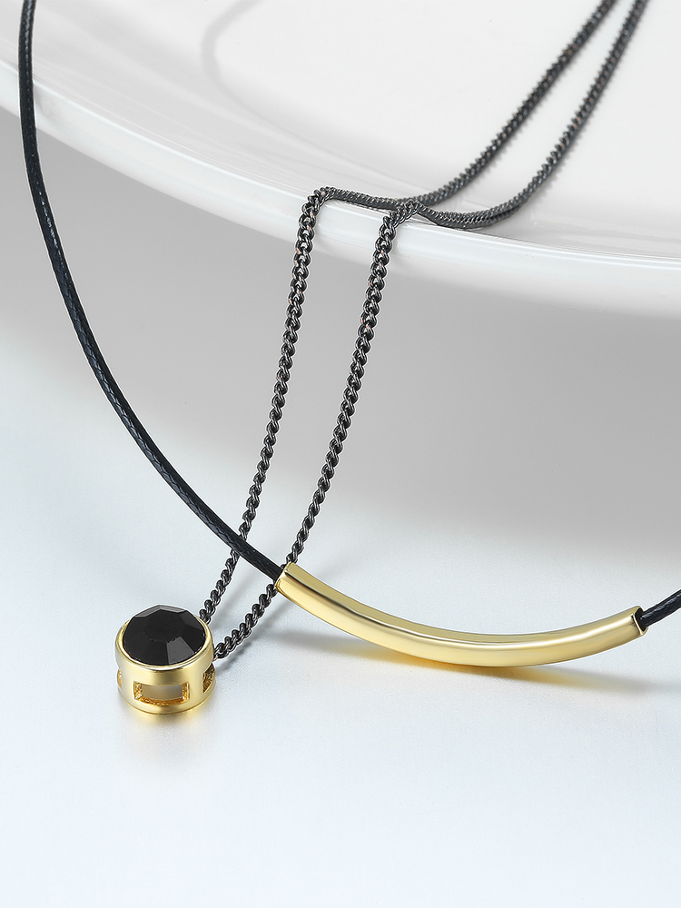 WARME FARBEN Women Choker Necklace Baroque Clavicle Black Double Rope link  Chain Collares round crystal Pendant Necklace Torques-in Necklaces from  Jewelry ... 5d16296e4646