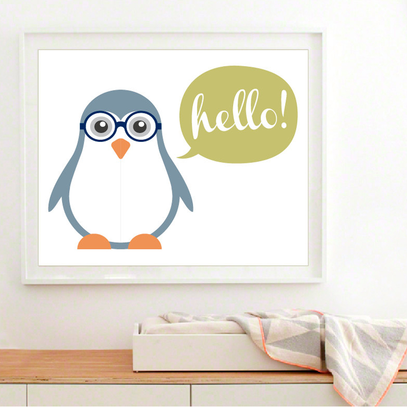 Buy new cute baby penguin canvas painting for New home decor products