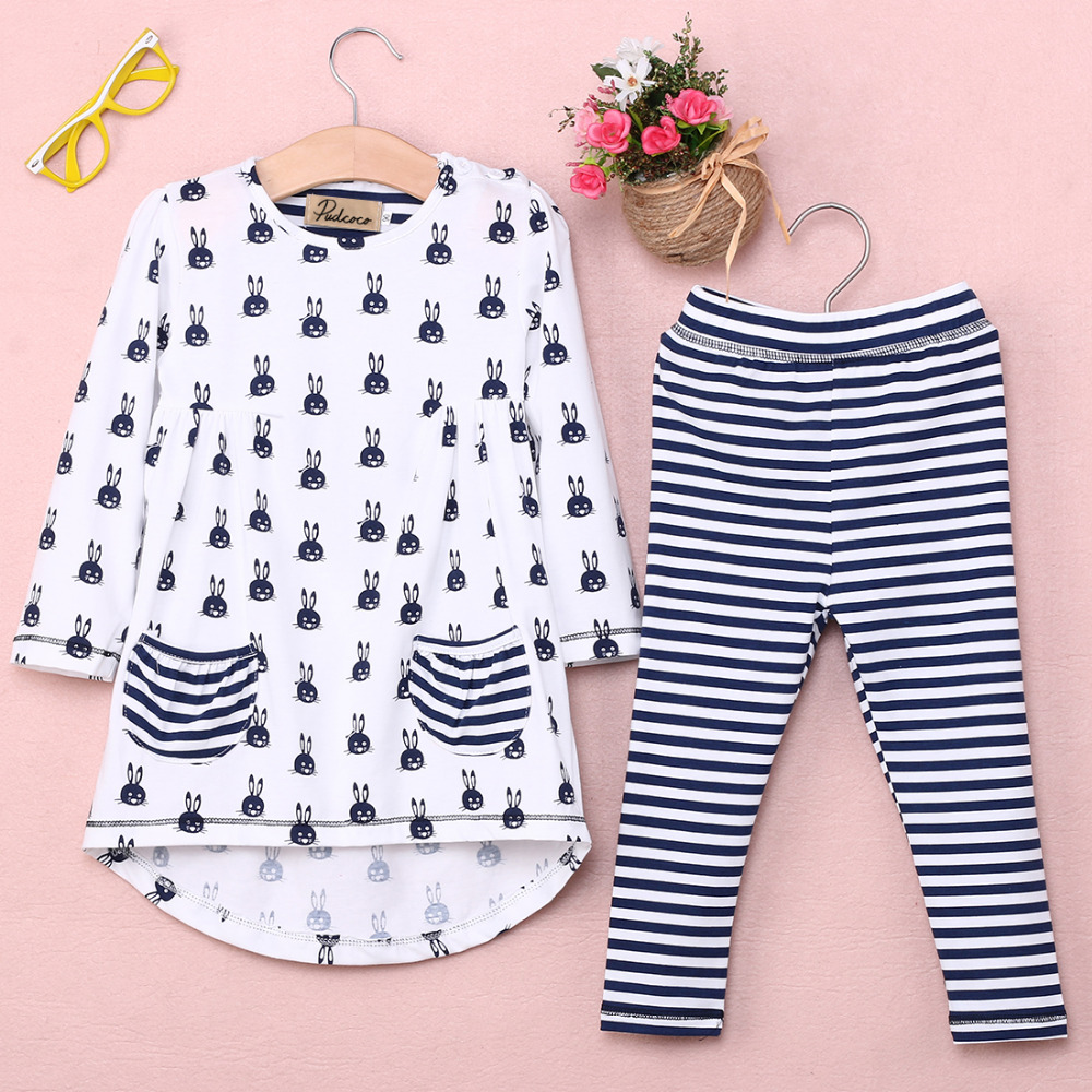 New-Girls-Clothes-Fashion-Cute-Kids-Cartoon-Rabbit-Print-Pocket-Dress-and-Striped-Leggings-2pcs-Children-Set-1