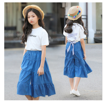 Princess Teenage Girls Clothing Set Two-piece White Tops Floral Skirts 8 9 10 12 14 15 years Summer Girls Outfit