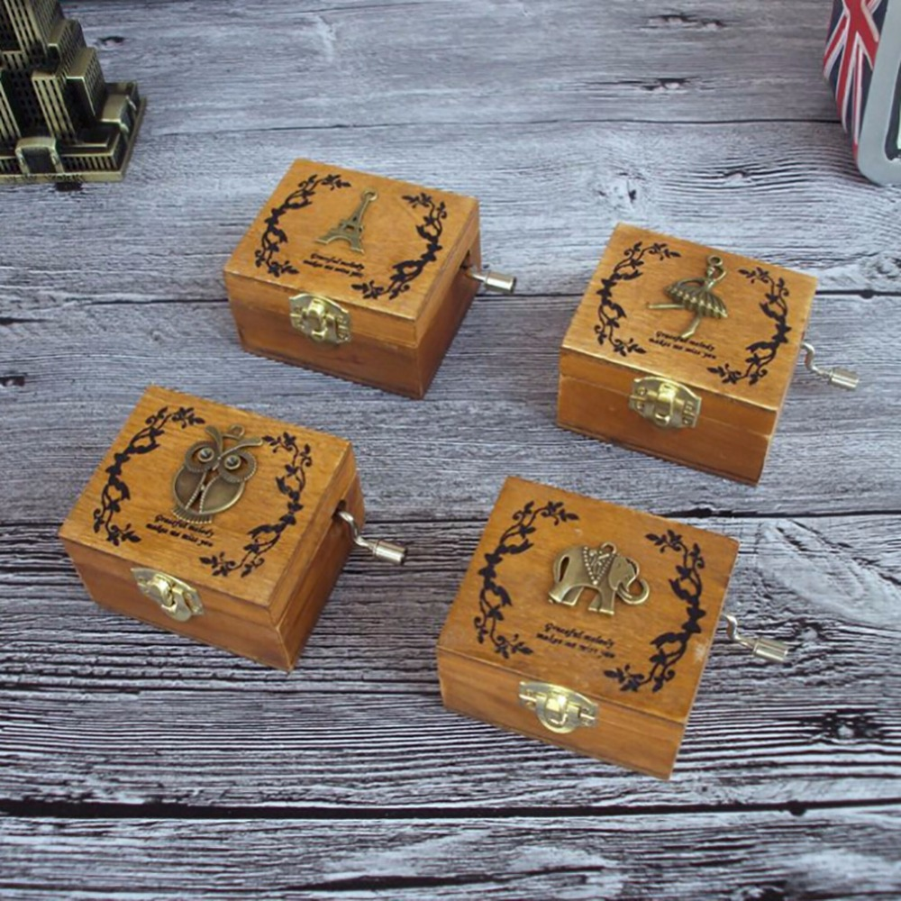 Vintage Wood Music Box DIY Craft Gold Hand Hurdy Gurdy Swan Lake Edelweiss Canon Lullaby 4 Songs Music Boxes Home Decor