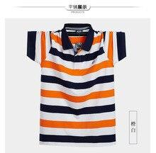 2019Tops Pure cotton men tees Summer tshirt Plus Size M- 5XL Turn-down Collar Fashion Striped Color streetwear T Shirts Man