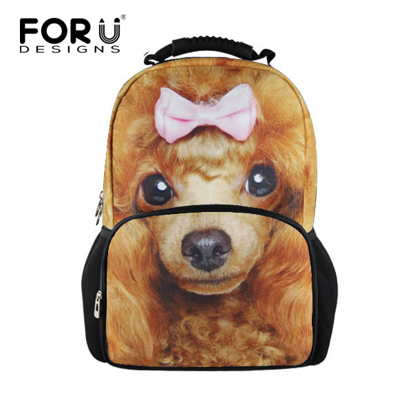 Casual 16inch 3D Animal Poodle Puppy School Backpack for Teenager Girls Women Travel Bagpack Fashion Student