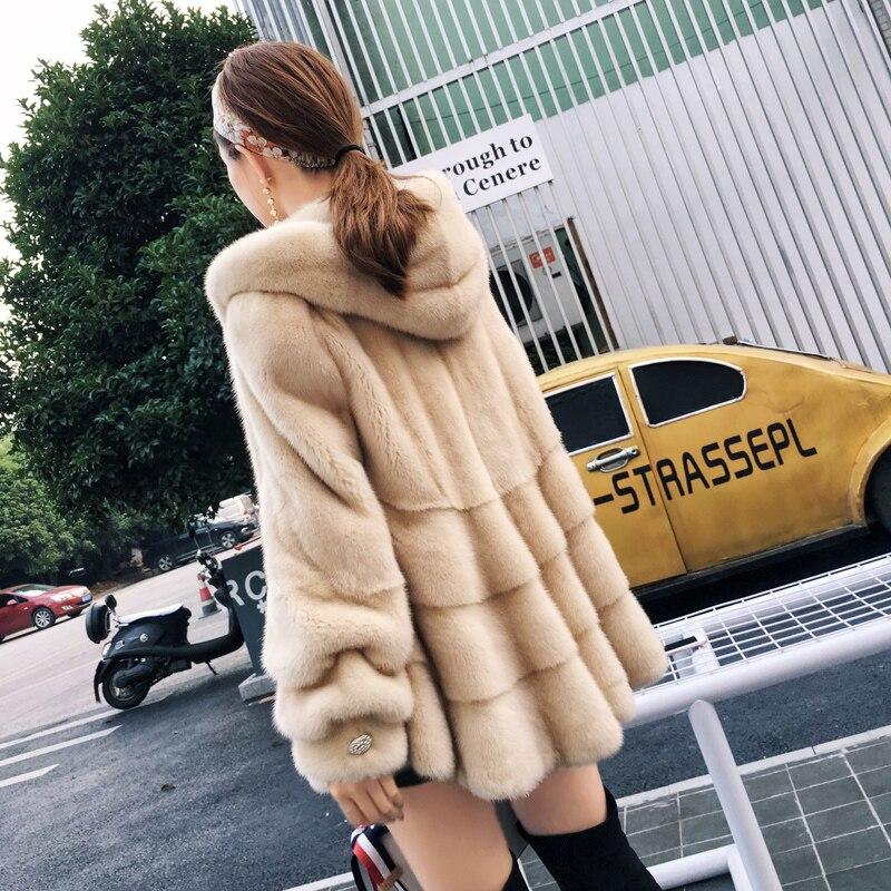 Femmes Veste Manteau Real Complet Mode De black Survêtement Beige Pelt Dame Vison Hiver 2018 Solide Capot Avec Naturel Fourrure 5Yg1xSq