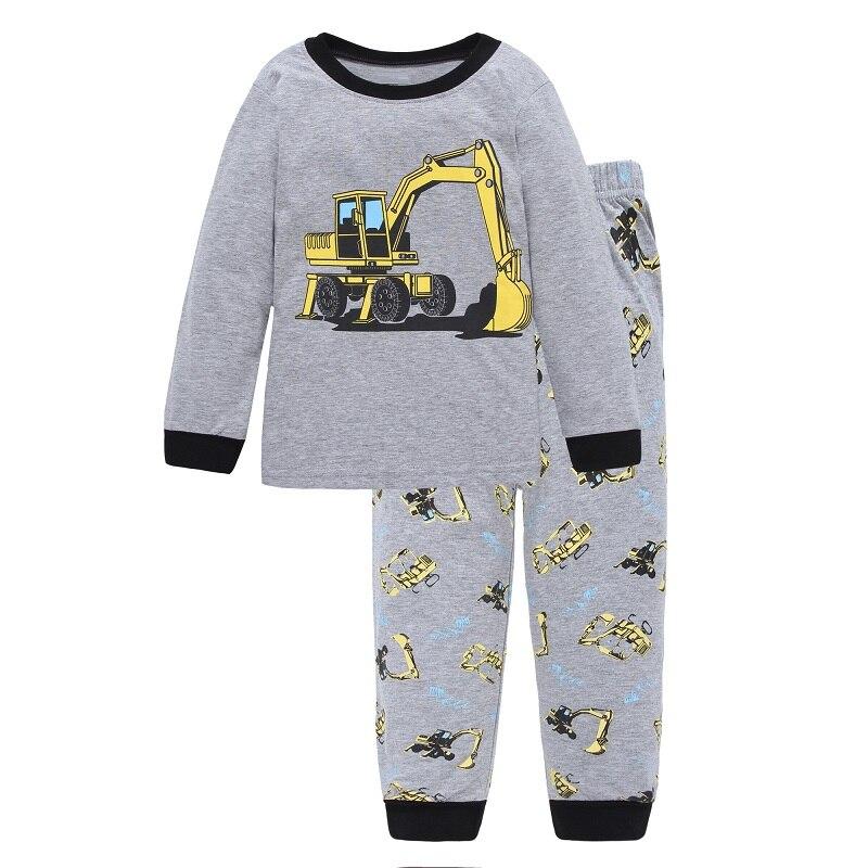 Digger Vehicle Baby Boys Clothes Suits 100% Cotton Children Pajamas Kids Sleepwear Sets Nightgown PJ'S Long Tees Shirts Pant Set 1