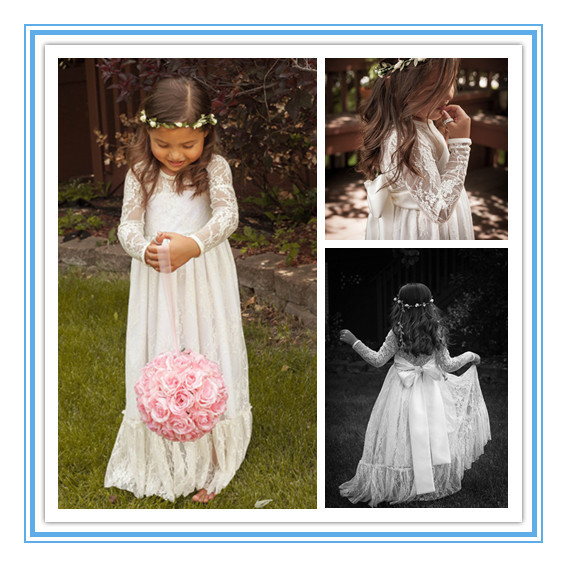 Pretty Long Sleeve First Communion Dresses for Girls Prom Dress Ivory Lace Flower Girl Weddings daminha de casamento