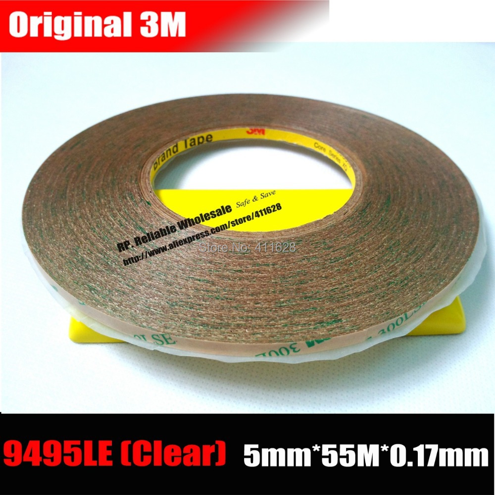 (5mm*55M*0.17mm) 3M Super Strong Double Sided Adhesive Tape Transparent for Phone Tablet Touch Screen Lens LCD, Waterproof 50 meters roll 0 2mm thick 2mm 50mm choose super strong adhesive double sided sticky tape for cellphone tablet case screen