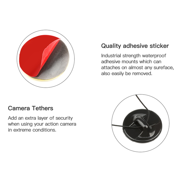 LANBEIKA surf sécurité assurance fermoir attache fixation adhésif autocollant pour Gopro Hero 7 6 5 4 3 + SJCAM SJ4000 Yi 4 K accessoire