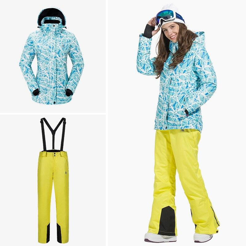 Outdoor Sport vrouwen Skipak Verdikte Warm Ademend Waterdicht slijtvaste Sneldrogende ski Jas + Ski Broek size S XXL - 2