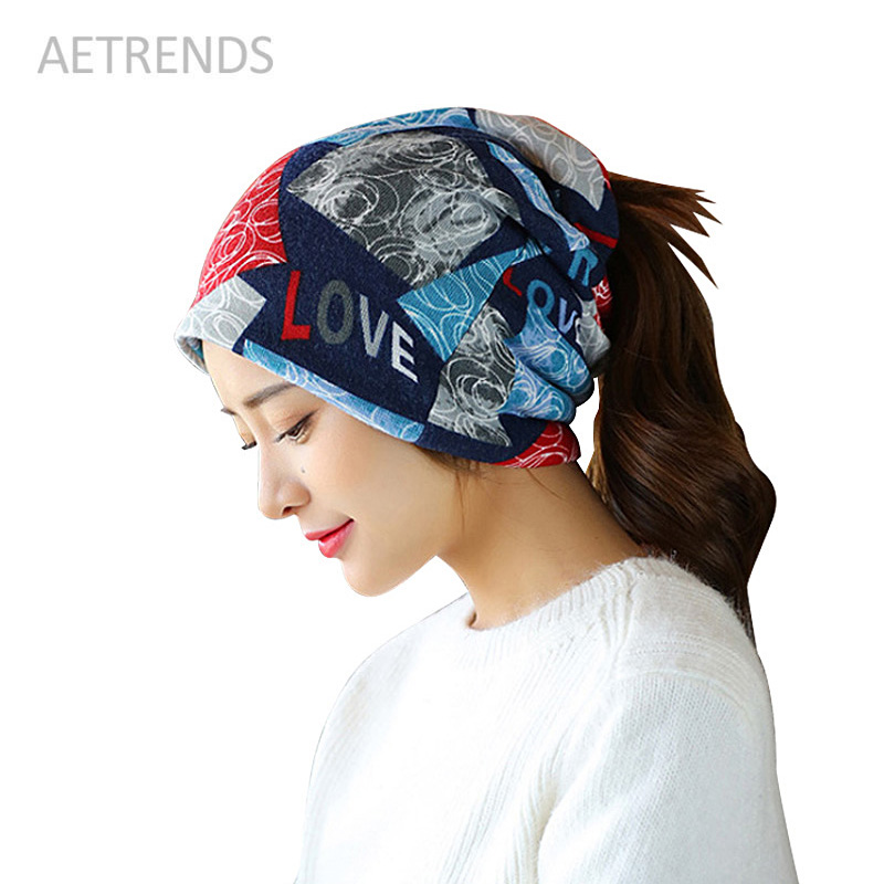 [AETRENDS] LOVE Skullies Women Bandanas Hip Hop Slouch Beanie Hats Soft Stretch Beanies Q3353 skullies