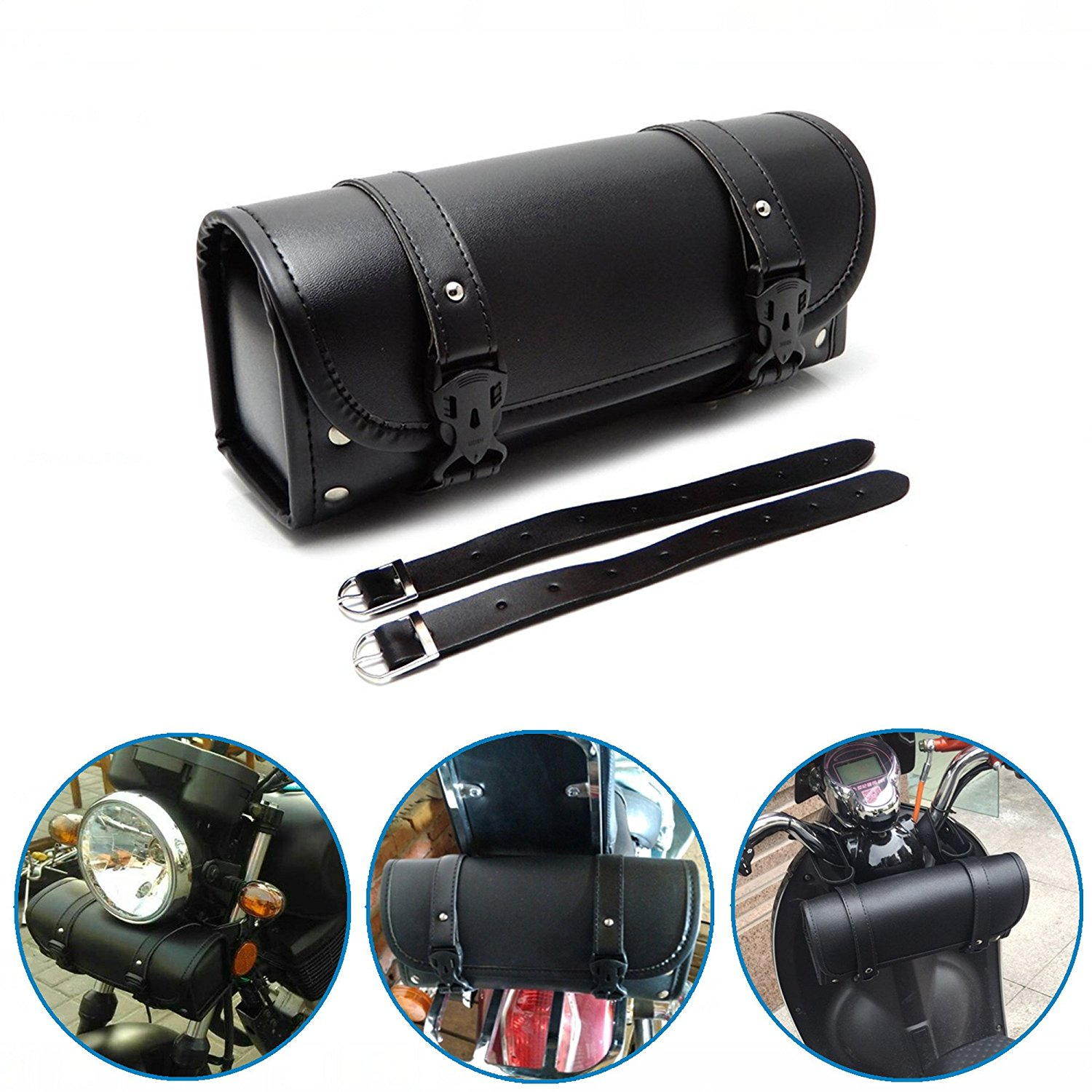 Black Motorcycle Handlebar Sissy Bar Saddlebag Roll Barrel Tool Bag PU Leather Saddlebags For Yamaha Harley Suzuki