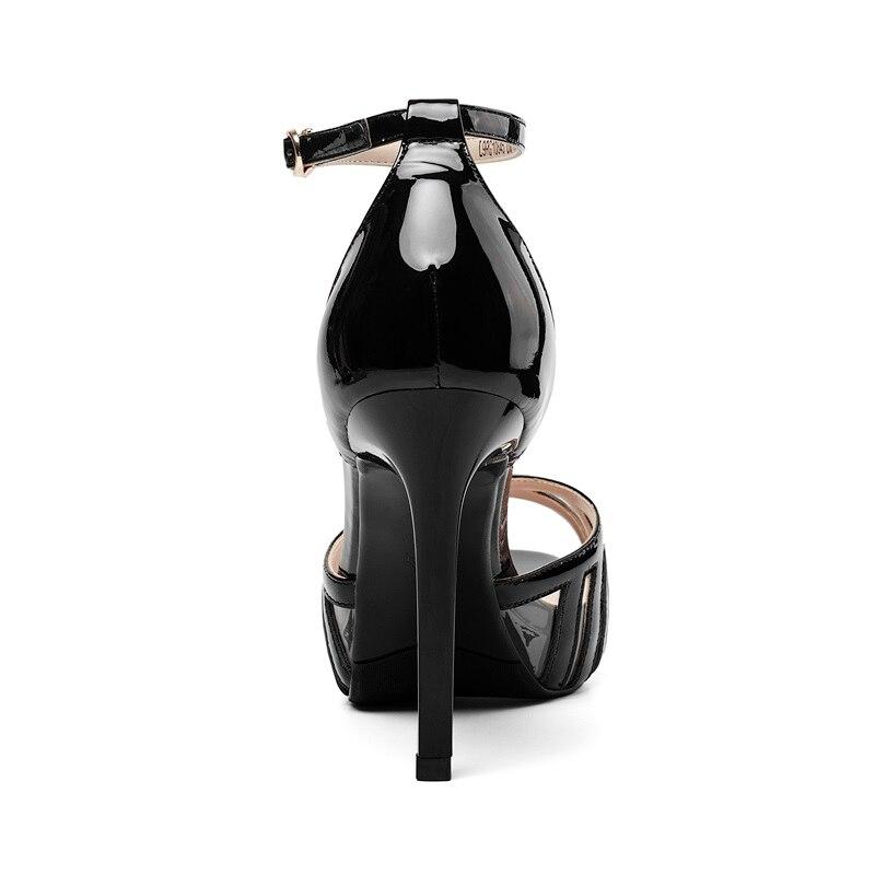 Gris Genuino Tacón Grey Vaca Cuero Zvq Zapatos Plataforma De Cuñas Negro black Patente Sexy Verano Reina 2019 Light Alto Sandalias Cubierta w66Hf7vq