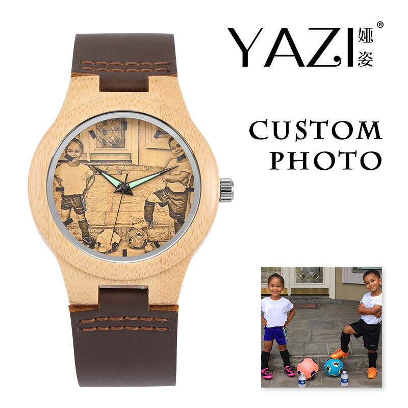YAZI Customized Photo Wooden Watch For Men And Women Wrist Watch Sketch Design Natural Bamboo Unique Quartz Watch No Waterproof