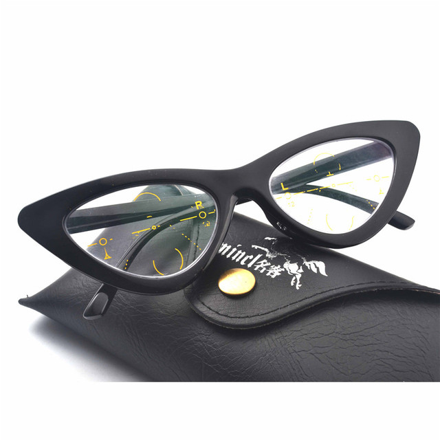 a6d7986841 MINCL  2018 Multi-Focal Progressive Reading Glasses women Diopter Eyewear  Cat Reading Glasses Women with box FML
