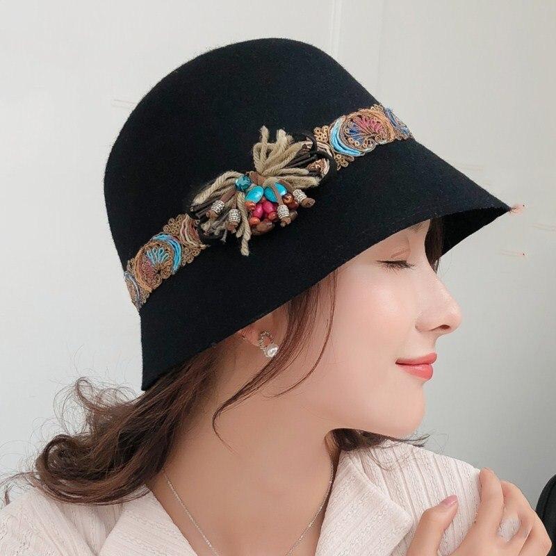 Bekleidung Zubehör Mode Herbst Winter Frauen Fedora Caps Eimer Caps Für Frau Dame Elegante England Punkte Fedora Hut Mit Bowknot
