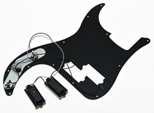 Black 3 Ply Prewired Loaded P Bass Pickguard for  Precision Bass Guitar
