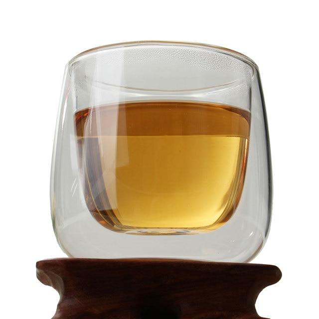 100ml Heat Resistance Double Wall Glass Cup Double Layer Glass Kungfu Tea Cup Coffee Milk Juice Healthy Drink Mug Mini Teapot