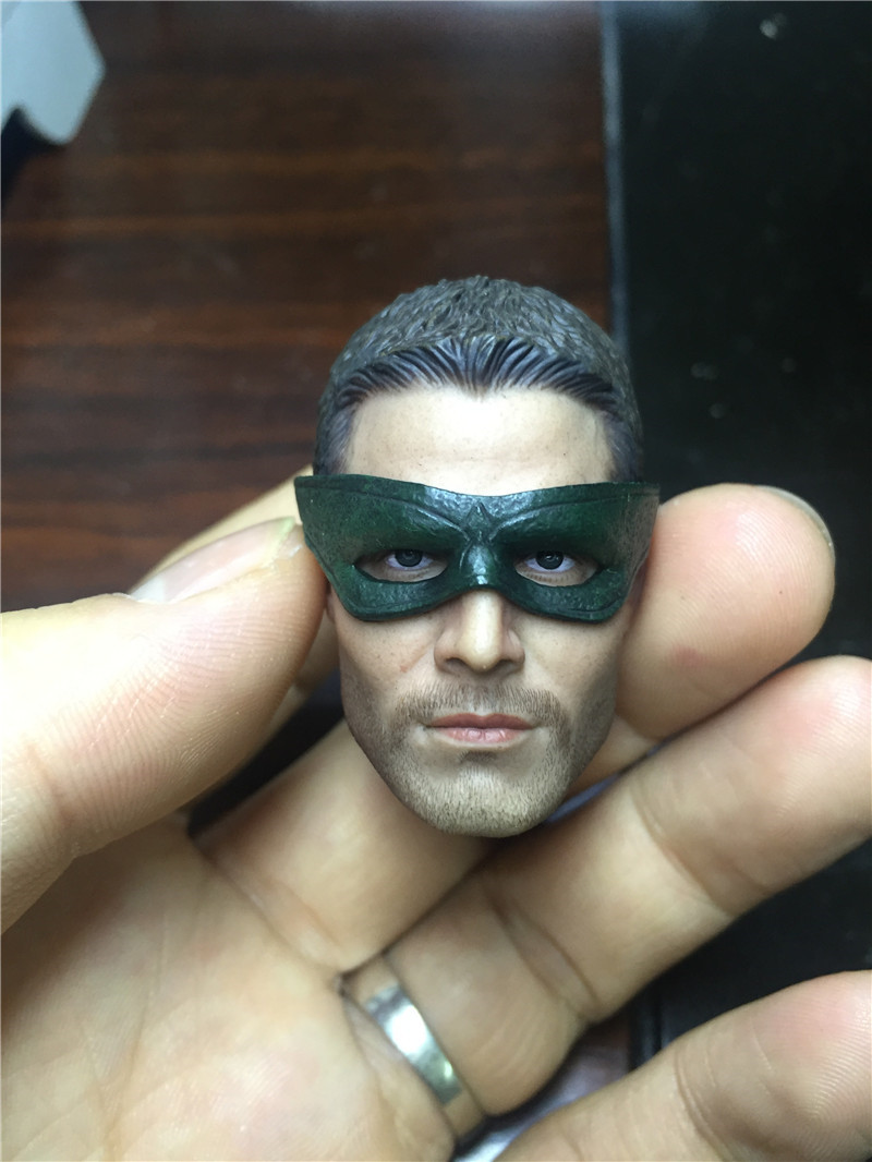 Mnotht Head Sculpt 1/6 Green Arrow Stephen Amell Head Sculpt with Eye Mask For Hot Toys Action & Toy Figures L30 lspace трусики ls 096