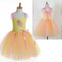 Moda Infantil Roupas Meninas Trajes para o Dia Das Bruxas Vestidos de Animal Print Vestido Tutu Amarelo para o Bebé