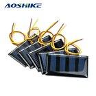 Aoshike 10pcs 2V 60MA Mini Solar Panel Polycrystalline Solar Cell DIY Solar Support 1.2V Battery Charger 59*34MM