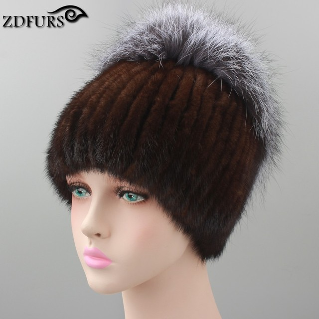 Winter knitted mink fur hat for women with fox fur pom poms top knitted beanies fur hats  new brand causal good quality caps