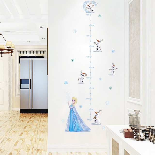 2018 New Princess Elsa Height Measurement Stickers Baby Growth Chart Decals Nursery Kindergarten Kids Stadiometer