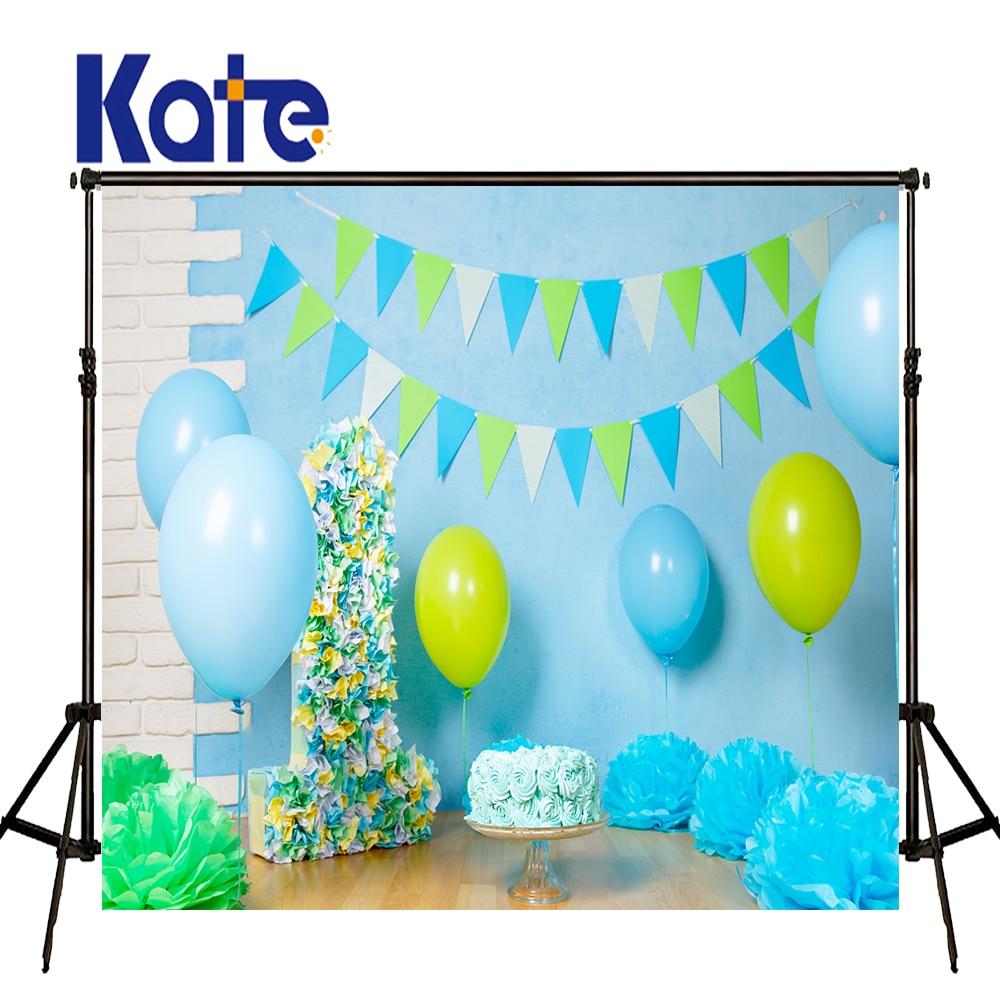 KATE Photography Backdrops Baby 1st Birthday Backdrop Blue Balloon and Cake Backdrop Brick Wall Wood Floor Backdrops for Studio
