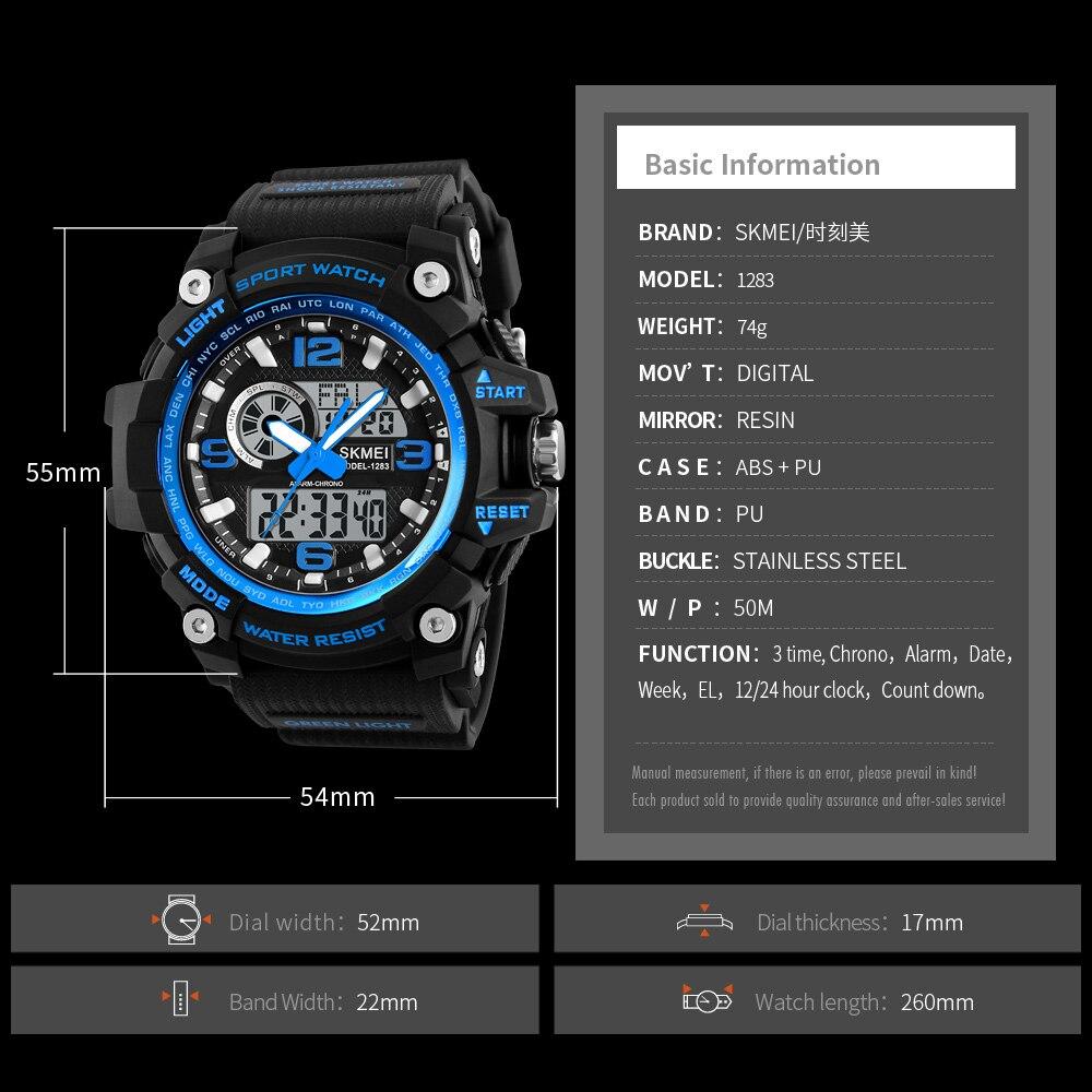 Image 4 - Skmei novo s choque masculino esportes relógios grande dial  relógio digital de quartzo para homens marca luxo led militar à prova  dwaterproof águawatch bigwatch forwatches for men