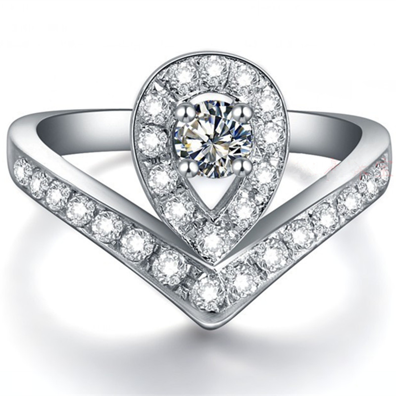 princess wedding ring 03ct round cut synthetic diamonds ring solid 925 sterling silver ring white - Princess Wedding Rings