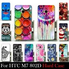 Para HTC One M7 Dual Sim 802d 802 t 802 w caixa de plástico rígido Mobile Case capa do telefone DIY cor Paitn de bolsa de celular Shell