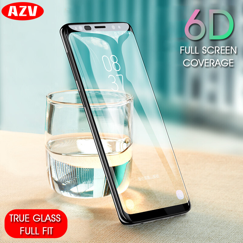 AZV 6D Curved Edge Tempered Glass For Samsung Galaxy S9 S8 Plus Note 8 Screen Protector For Samsung S7 S6 Edge Plus S8 S9 Glass