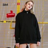 kpop angtan black hoodies korean style women oversized clothes hip hop sweat femme white Half high collar harajuku sweatshirt