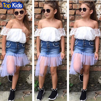 2019 Fashion Children Girl Summer Clothes Off shoulder White Tops+Denim  Skirt Outfit Kids Clothing Set 1-7Y MB485 1