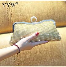 Bolsa de mão feminina com strass, bolsa mini brilhante prateada de luxo dourada