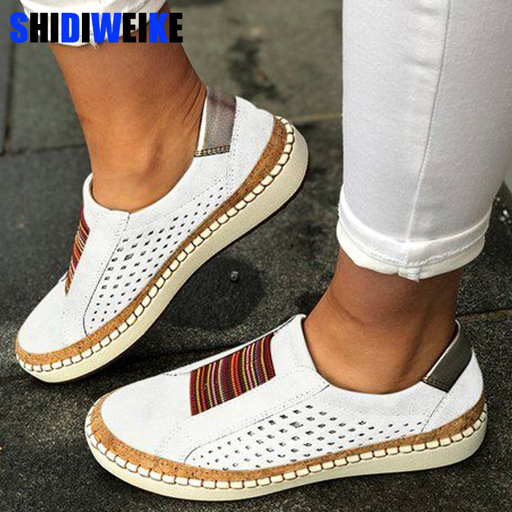 Leather Loafers Casual Shoes Women Slip-On Sneaker Comfortable Loafers Women Flats Tenis Feminino Zapatos De Mujer g525(China)
