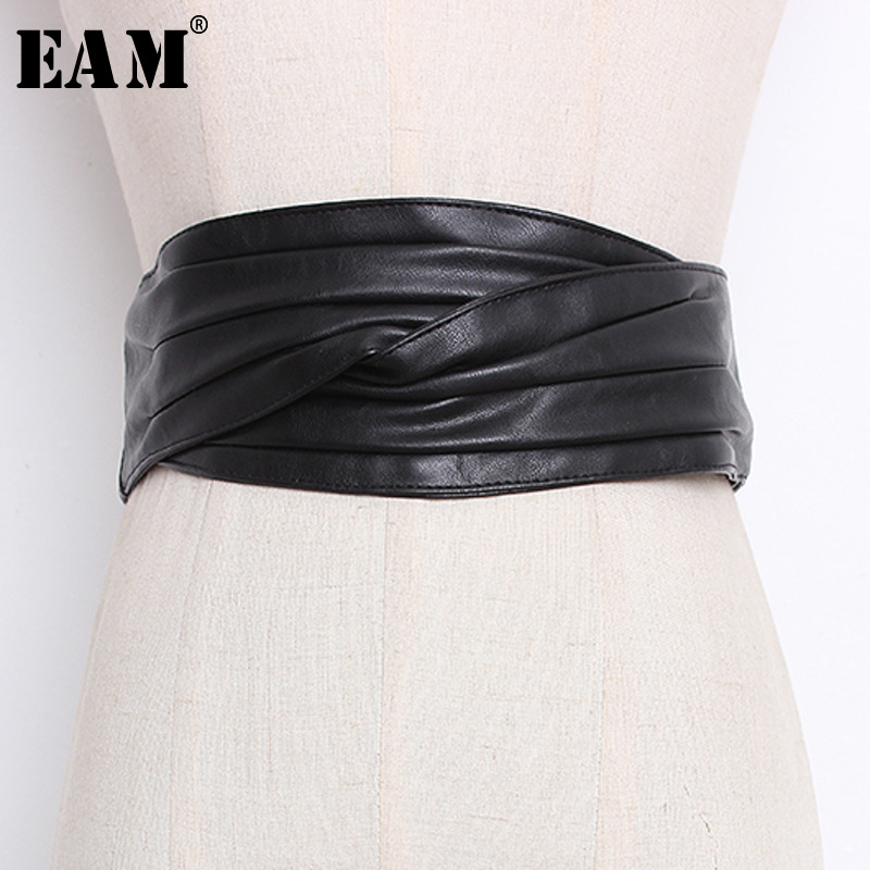 2019 Spring Woman Stylish Simple Sytyle Black Red Khaki Color Long Width Soft Pleated Leather Waist Belt All Match Li063 eam Ambitious