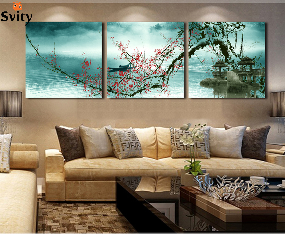 3 Panel Bunga Plum Blossom Modern Lukisan Gambar Living Room Wall Art Decor Kombinasi Lukisan Sidik