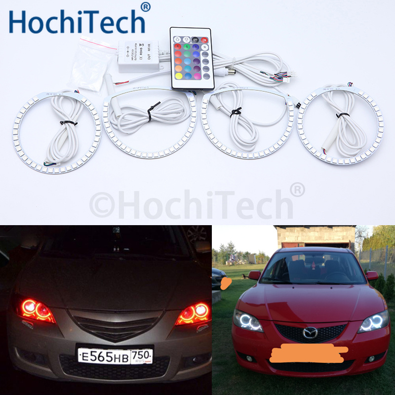 For Mazda 3 <font><b>mazda3</b></font> 2002 2003 2004 2005 2006 <font><b>2007</b></font> Multi-color Led Angel Eyes Kit RGB Halo Rings Daytime Running Light DRL image