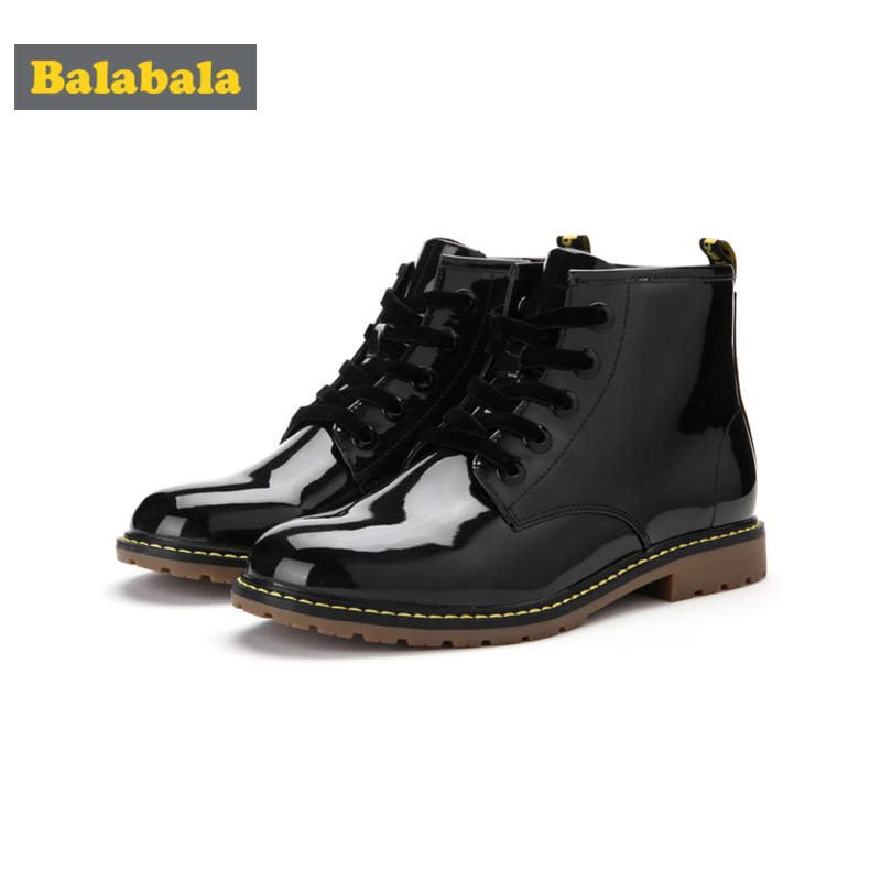 Balabala Girls Patent Leather Fleece-Lined Martens 10 Eye Lace-up Marten Boots For Teenage Girl Pull Tab At Heel With Round Toe