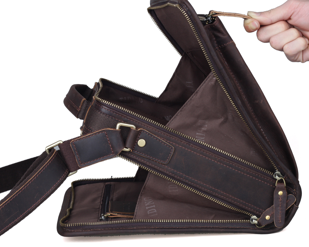 Top Quality Vertical Real Leather Messenger Bags Mens Casual Tote Organizer Bag Crazy Horse Crossbody Vintage Brown In From