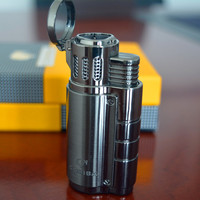 COHIBA High Quality Titanium Three Fire Windproof Triple Torch Jet Flame Cigar Lighter with Cigar Punch