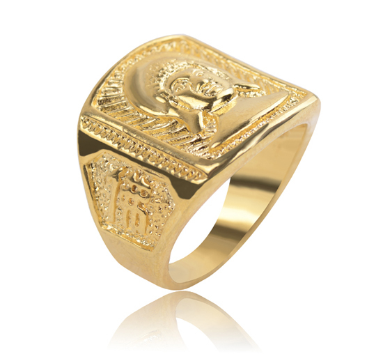 Big Size Gold Color Men's Rings With Buddha Charms Gold