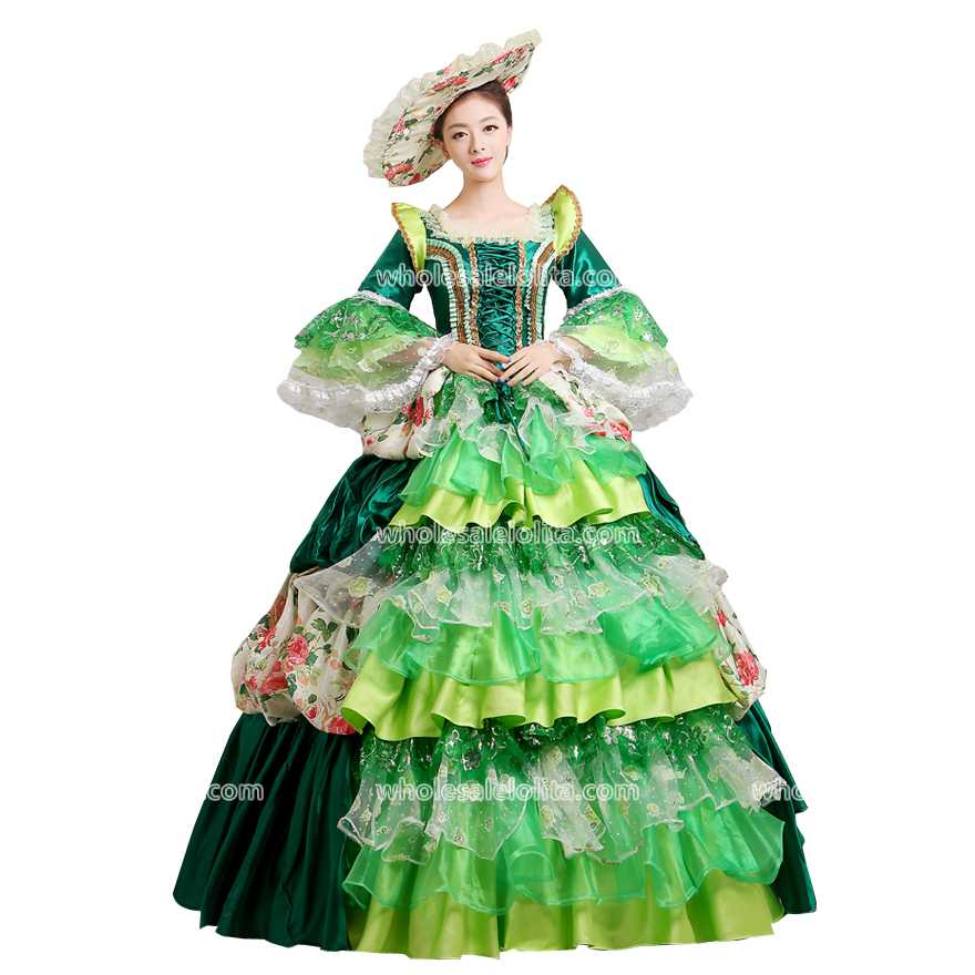 Wholesalelolita Gown Green Reenactment Dress 18th Century Rococo Style Marie Antoinette Inspired Dress