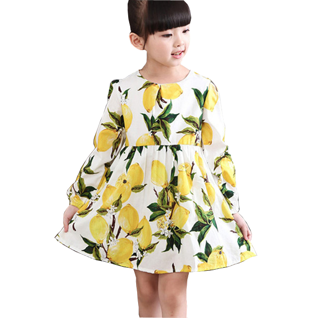 2017 New Spring Fall Girls Dresses Children Clothing For Girl Lemon Princess Dress Kids Cotton Clothes For 3 4 5 6 7 8 9 10 Yrs summer kids dresses for girls pineapple lemon girl dresses cotton sleeveless children sundress sarafan clothes for girls 2 7y