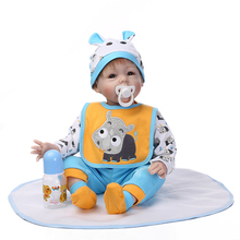 "Hot Sell 22"" 55cm Silicone-Reborn-Baby-Dolls With Real Cotton Made Soft Baby Doll Clothes Best Bebes Meninas As Educational Toy"