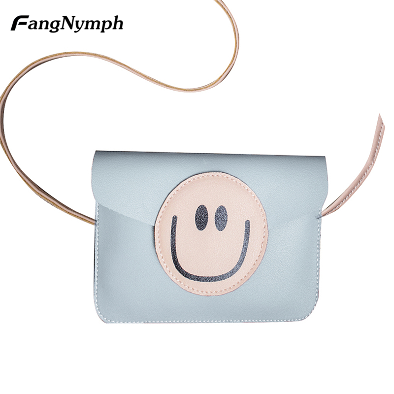 FangNymph Small Cartoon Cute Smile Face Women PU Leather Messenger Bag Female Simple Shoulder Bags Girls Phone Money Wallet S/L