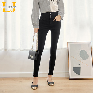 Image 2 - Leijijeans calça jeans feminina, cintura alta com botões, elástica, para outono, plus size, preta, 2020