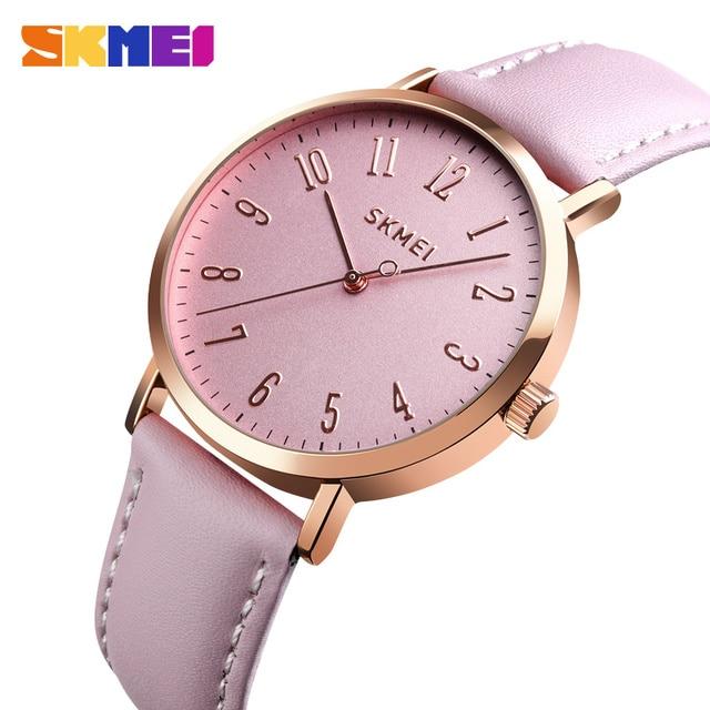 SKMEI ファッション女性腕時計革ストラップリストバンド女性 3bar 防水時計の女性の腕時計レロジオ feminino 1463
